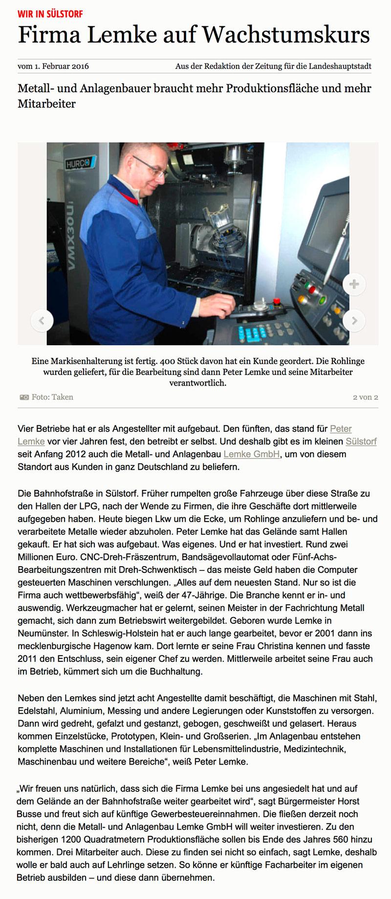 Artikel über Lemke Metallbau in der SVZ